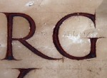 H: Eric Gill's name, inscribed on the right hand bottom corner of the monument to Col Edgar Evelyn Ravenhill DSO in the north Nave aisle.