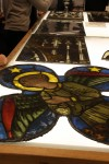 A delegation from Uppsala Cathedral visit the stained glass conservation department of Canterbury