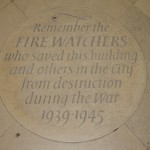 C: A Memorial paving stone to the Fire Watchers of Canterbury. Found in the floor of the Nave sited near the West door.