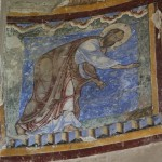 D: The wall painting of St Paul and the viper situated in the apse of St Anselm's Chapel.