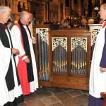 The Dean and David Flood with the Bishop of Dover bless the new chamber organ.