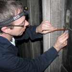 David Griffiths taking samples from the Great South Transept Window in Uppsala Cathedral